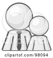 Royalty Free RF Clipart Illustration Of A Sketched Design Mascot Child Or Employee Standing Beside A Bigger Gray Businessman