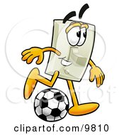 Light Switch Mascot Cartoon Character Kicking A Soccer Ball