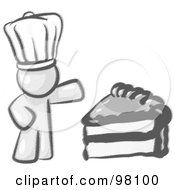 Royalty Free RF Clipart Illustration Of A Sketched Design Mascot Chef Man Wearing A White Hat And Presenting A Tasty Slice Of Frosted Cake