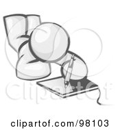 Royalty Free RF Clipart Illustration Of A Sketched Design Mascot Laying On His Belly And Drawing On A Tablet
