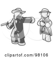 Royalty Free RF Clipart Illustration Of A Sketched Design Mascot Man Challenging Another Man To A Duel With Pistils by Leo Blanchette