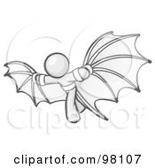 Royalty Free RF Clipart Illustration Of A Sketched Design Mascot Man Strapped In Glider Wings Prepared To Make Flight