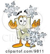 Light Switch Mascot Cartoon Character With Three Snowflakes In Winter