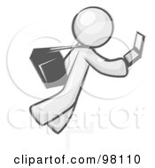 Royalty Free RF Clipart Illustration Of A Sketched Design Mascot Man Tripping On Steps While Texting On A Cell Phone