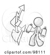 Sketched Design Mascot Business Man Spray Painting A Graffiti Dollar Sign On A Wall