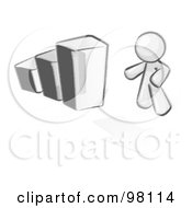 Royalty Free RF Clipart Illustration Of A Sketched Design Mascot Man Standing By An Increasing Bar Graph On A Grid Background With An Arrow