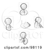 Royalty Free RF Clipart Illustration Of Sketched Design Mascots Holding A Phone Meeting And Wearing Wireless Bluetooth Headsets
