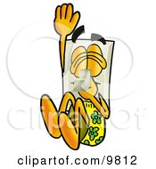 Light Switch Mascot Cartoon Character Plugging His Nose While Jumping Into Water