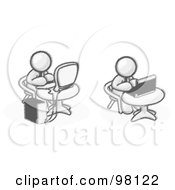 Royalty Free RF Clipart Illustration Of Sketched Design Mascots Working On Computers In An Office
