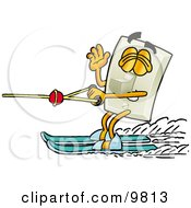 Light Switch Mascot Cartoon Character Waving While Water Skiing