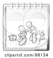 Royalty Free RF Clipart Illustration Of A Sketched Design Mascot Family Showing A Man Kneeling Beside His Wife And Newborn Baby With Their Dog And Cat On A Notebook
