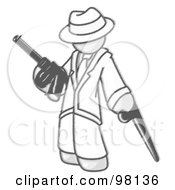 Royalty Free RF Clipart Illustration Of A Sketched Design Mascot Gangster Man In White Clothes Carrying A Gun And Leaning On A Cane