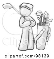 Royalty Free RF Clipart Illustration Of A Sketched Design Mascot Man Golfing And Standing By His Golf Clubs
