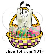 Light Switch Mascot Cartoon Character In An Easter Basket Full Of Decorated Easter Eggs