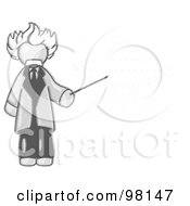 Royalty Free RF Clipart Illustration Of A Sketched Design Mascot Man Depicted As Albert Einstein Holding A Pointer Stick Up To A Drawing Of A Ufo Flying Saucer