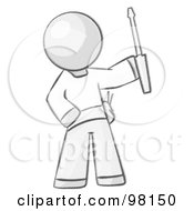 Royalty Free RF Clipart Illustration Of A Sketched Design Mascot Man Electrician Holding A Screwdriver