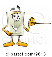 Clipart Picture Of A Light Switch Mascot Cartoon Character Holding A Pointer Stick by Toons4Biz