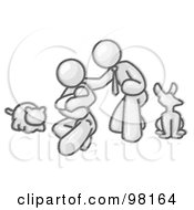 Sketched Design Mascot Family Father Mother And Newborn Baby With Their Dog And Cat