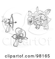 Royalty Free RF Clipart Illustration Of Sketched Design Mascot Men One Using A Bow And Arrow The Other Using A Shield And Sword Working Together To Fight Off A Dragon by Leo Blanchette