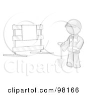 Royalty Free RF Clipart Illustration Of A Sketched Design Mascot Man Construction Worker In A Yellow Vest And Hardhat Holding A Shovel And Standing By A Road Block Sign
