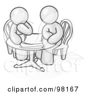 Royalty Free RF Clipart Illustration Of Sketched Design Mascot Business Men Sitting Side By Side At A Table During A Conference Or Meeting