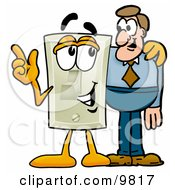Light Switch Mascot Cartoon Character Talking To A Business Man