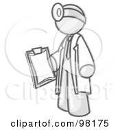 Royalty Free RF Clipart Illustration Of A Sketched Design Mascot Male Doctor In A Jacket Holding A Clipboard And Wearing A Head Lamp During A Medical Exam