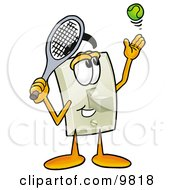 Light Switch Mascot Cartoon Character Preparing To Hit A Tennis Ball