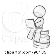 Royalty Free RF Clipart Illustration Of A Sketched Design Mascot Man Sitting On Coins And Using A Laptop By A Bar Graph