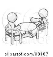 Royalty Free RF Clipart Illustration Of Sketched Design Mascot Businessmen Seated Across From Eachother At A Table During A Conference Or Meeting