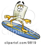 Clipart Picture Of A Light Switch Mascot Cartoon Character Surfing On A Blue And Yellow Surfboard by Toons4Biz