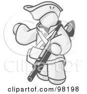 Royalty Free RF Clipart Illustration Of A Sketched Design Mascot Man In Hunting Gear Carrying A Rifle