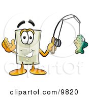 Light Switch Mascot Cartoon Character Holding A Fish On A Fishing Pole