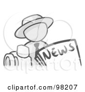 Royalty Free RF Clipart Illustration Of A Sketched Design Mascot Man Wearing A Hat Posed In Front Of The News And A Camera