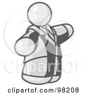 Royalty Free RF Clipart Illustration Of A Sketched Design Mascot Big Man In A Suit And Tie