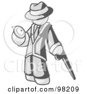 Royalty Free RF Clipart Illustration Of A Sketched Design Mascot Man Leaning On A Cane And Checking His Pocket Watch