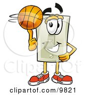 Light Switch Mascot Cartoon Character Spinning A Basketball On His Finger