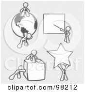 Royalty Free RF Clipart Illustration Of Sketched Design Mascot Men Doing Different Things Sitting On And Carrying A Globe Pointing At A Board Pushing And Sitting On A Cube And Holding Up A Star