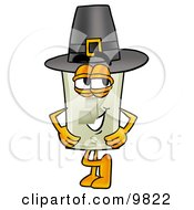 Clipart Picture Of A Light Switch Mascot Cartoon Character Wearing A Pilgrim Hat On Thanksgiving by Toons4Biz