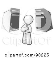 Royalty Free RF Clipart Illustration Of A Sketched Design Mascot Businessman Character Standing In Front Of Server Towers
