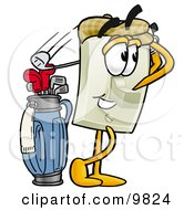 Clipart Picture Of A Light Switch Mascot Cartoon Character Swinging His Golf Club While Golfing by Toons4Biz