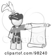 Royalty Free RF Clipart Illustration Of A Sketched Design Mascot Man Dressed As Robin Hood With A Feather In His Hat Holding A Blank Scroll And Acting As A Pageboy