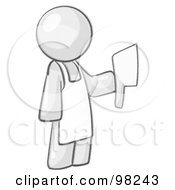 Royalty Free RF Clipart Illustration Of A Sketched Design Mascot Man Butcher Holding A Meat Cleaver Knife