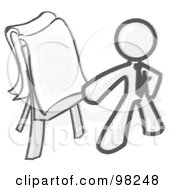 Royalty Free RF Clipart Illustration Of A Sketched Design Mascot Man Standing By A Dollar Sign Puzzle On A Presentation Board During A Meeting
