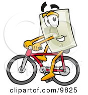 Clipart Picture Of A Light Switch Mascot Cartoon Character Riding A Bicycle by Toons4Biz