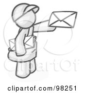 Royalty Free RF Clipart Illustration Of A Sketched Design Mascot Man Delivering A Letter While Working His Route