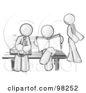 Royalty Free RF Clipart Illustration Of Sketched Design Mascots Waiting At A Bench At A Bus Stop