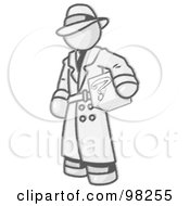 Royalty Free RF Clipart Illustration Of A Sketched Design Mascot Man In A Trench Coat And Hat Carrying A Secret Box