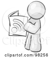 Royalty Free RF Clipart Illustration Of A Sketched Design Mascot Man Standing And Reading An Rss Magazine