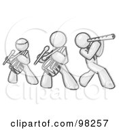 Royalty Free RF Clipart Illustration Of A Sketched Design Mascot Music Band Formed Of Three Men Playing A Flute And Drums